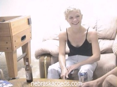 Drunk blond coed loses undress poker and masturbates