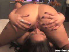 Large boobed lezzies Jenaveve Jolie and Cody Milo lick every other