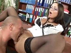 Sexy lips secretary slut fucked in his office