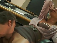 Nasty Jessica Drake is licked out in her office