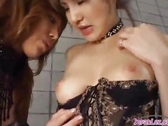 2 Hawt Oriental Girls In Sexy Lingerie Sucking Every Other Nipples Patting On The Mattress In The Basement