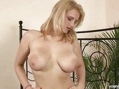Busty blond masturbating