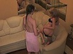 Luxurious hotel room with comfortable sofa turned into a sexy fuck platform for 2 harlot bimbos watched by spy camera. They stripped and enjoyed the wildest rubbing act for their juicy beavers!