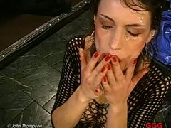 Sexy honey takes pleasure in getting her face filled with jizz