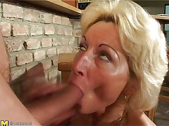 Stefana is a blonde older bitch that loves to sucks ramrods each time this babe can. Now this babe has in her throat a long dong that this babe sucks it very nice during the time that this babe sitting on her knees. The younger guy is willing now to penetrate her unfathomable so he begins fucking her pussy from behind making Stefana screaming of pleasure.