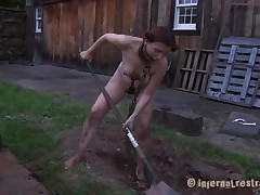 The worthless slut Maggie digs a hole to stay in it. That chick has a beautiful face hole and a hawt body but this chick is ribald and her pretty lips spread by a thraldom device. After Maggie finishes digging this chick needs to suck the end of the shovel and then get her shaved love tunnel filled with it. That's right Maggie, u know you're place