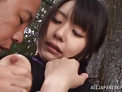 This sweetheart is sexy and goes wild in the forest. Check out this hotty named Tsubomi, a young asian whore that likes to suck a hard dick, no matter if that sweetheart does it in the comfort of her abode or in the centre of a forest! This sweetheart kneels like a admirable Japanese slut and gives oral stimulation with obedience during the time that preparing for a hard fuck