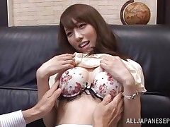 Arisu loves her boss and her job. She does everything in her force to make her employer happy even if it means to be a total slut. Arisu allows him to grope her pleasant boobs and then take up with the tongue her cunt over those pantyhose. Take a look at her and that cum asking cum-hole below her panties, that babe really needs it fucked now.