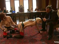 Dylan Ryan is a blonde milf with nice natural tits who likes being an obeying sex slave. The pleasing hotty loves when someone is inserting wooden poles in her shaved pussy. See her sucking on that cock whilst she acquires dildo fucked with roughness from behind. The kneeling babe gags his cock for more pleasure.