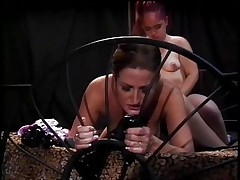 If u like midgets and snatch then this is for you! Here's Twigget, a cute redhead midget that is getting her snatch licked by Regan, a sexually excited milf with hawt boobs. Twigget widens her legs and gets this milfs tongue in her snatch in advance of that babe straps on a sex-toy and starts fucking this milf from behind making her hawt zeppelins bounce. What are those gals going to do next?