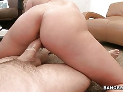 Watch this horny blonde moaning of joy during the time that that babe rides that big hard cock. Look at her perfect a-hole getting spanked and that dick going in and out of her taut pussy. After that that babe begins sucking that shlong with the condom on and gets her a-hole back to work. Is this chab going to cum on her pretty face?