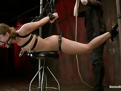 Hot sweetheart Remy Lacroix is tied up with darksome leather belts, her mouth is gagged with a ball and that honey has a small chair underneath her belly. The mistress rubs and whips her vagina and then uses suckers on her sweet marangos to induce some pain. Now that she's ready that honey hangs the fucking slut, curious why?