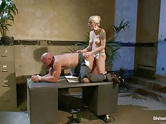 Chad Rock thinks he'll impress domina Lorelei Lee with his business suit. She's unimpressed. She fucks him from behind on the desk with her black strap-on then flips him over on his back and pounds his booty harder. She strokes the bitch boy's cock and allows him to squirt his spunk all over himself.