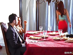 At dinning table husband tells some truth about himself, redhead wife doesn't like it and wants to leave that place. As this playgirl is going to leave this playgirl is caught by one more sexy blond babe, husband tells her to teach her wife a lesson. That playgirl lay her on the couch and fingers her love tunnel and kisses her erotically. Blonde playgirl unzips her husband pant and pulls of his hard dick and starts engulfing it in front of her husband during the time that this playgirl is held taut by one more man.