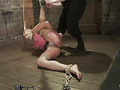 Amber never felt so abused in her life! She is fastened with one leg up, blindfolded and mouth gagged. She get's what that babe deserves, an humiliating treatment that involves a lot of spanking. Look how her shoe is removed and her foot is spanked and then her haunch too. Does that babe enjoys the pain, should that babe receive some more?