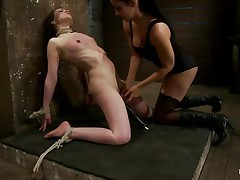 This is hawt and only gets better, a dominating milf wearing stockings and sexy clothing is showing a younger gal who's the boss. She ties her with rope and as the rope goes throughout those her pussy lips, a weight at the end of the rope makes things greater quantity interesting. The playgirl is suffocated too and probably she enjoys it a lot!