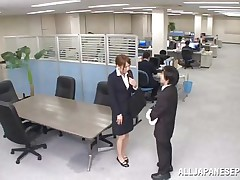Now that is not a way to treat your work place! The lascivious Japanese employee goes on the desk and pisses on it. This babe is a bit shy and worried about what her colleagues will think, luckily this one supports her and even greater amount then that, this chab gives the doxy his dick for a rub and much more. Wonder what she will do next?