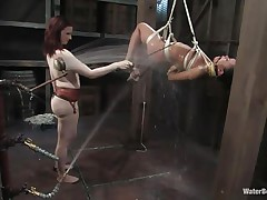 That girl needs an intense washing and some spanking too and this mistress knows how to do the job right! That babe hanged her and washed her fit hot body until she putted down, fastened her with some other rope and secured her in a ideal position. Are u thinking for what is that dildo in the wall?