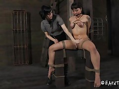 Kinky, pretty and sadistic the brunette milf is using a elementary stick to torment her sex slave. This babe bound the whore and used rope to squeeze her boobs so hard that they've not quite turned blue. Using that stick that babe stung her slave on the breast and cunt. This babe can't live without doing it and we love to watch her as that babe does it