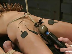 The man is showing his skills in domination and punishment. This stud putted laundry pliers on this slut's boobs and then suckers on her nipples before rubbing her clit with a vibrator. After rubbing that fur pie worthwhile and admirable this stud hangs her and probably has something very specific for her ass, would you like to see that?
