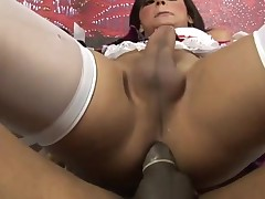 Attractive sex-obsessed tgirl engulf and copulates like hell