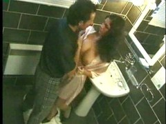 Hot black haired sweetheart nailed in washroom