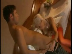 Blond brings him to bedroom to have anal