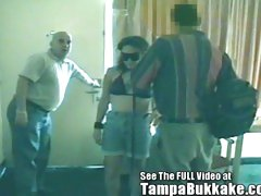 Blindfolded Slut Acquires A Tampa Bukkake Motel Banging!