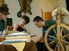 German Brunette hair Visited by 2 Men
