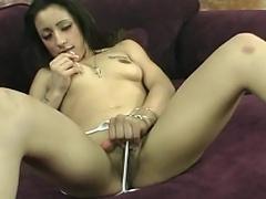 Glamorous in white bikini, juvenile nymph shaves as that babe bathroom her fresh...