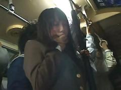 Shy Asian school angel gets caressed on the train then drilled at home