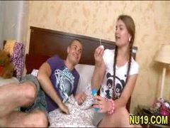 Glamorous girlie receives banged hard