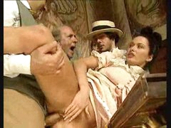 Guys watch gal in vintage costume take big cocks