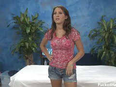 Lizz exposes her stripped wazoo before massage